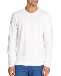 Saks Fifth Avenue - White Long-sleeved Cotton Tee for Men - Lyst