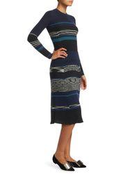 Proenza Schouler - Black Long-sleeve Crewneck Striped Ribbed Wool-blend Dress - Lyst