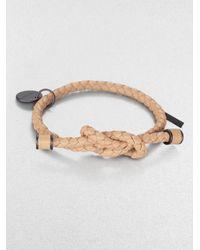 Bottega Veneta - Natural Intrecciato Knotted Leather Bracelet - Lyst