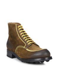 Prada - Brown Suede Burnished Ankle Boots for Men - Lyst