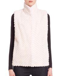 Saks Fifth Avenue - White Reversible Fur Vest - Lyst
