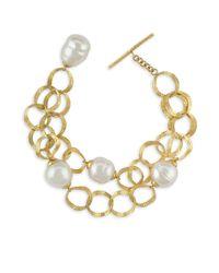 Majorica - White Baroque Pearl Openwork Chain Bracelet - Lyst