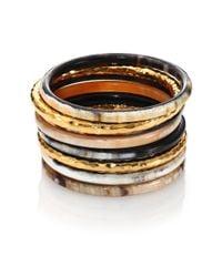 Nest - Metallic Hammered Horn Bangle Bracelet Set - Lyst