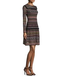 M Missoni - Black Multicolor Geometric A-line Dress - Lyst