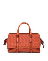 Bottega Veneta - Orange Belted Basket-weave Leather Satchel - Lyst