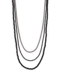 King Baby Studio - Metallic Black & Silver Triple Strand Necklace for Men - Lyst