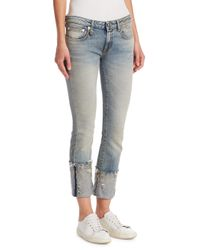R13 - Multicolor Kate Skinny Frayed Cuff Light Wash Jeans - Lyst