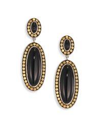 John Hardy | Metallic Dot Black Onyx & 18k Bonded Yellow Gold Oval Drop Earrings | Lyst