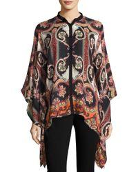 Etro - Black Wool & Silk Poncho - Lyst