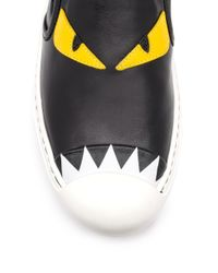 Fendi - Black 20mm Monster Leather Slip-on Sneakers - Lyst