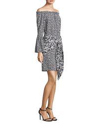 Michael Kors - Black Floral Crepe De Chine Pareo Skirt - Lyst
