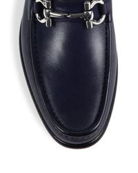 Ferragamo - Blue Mason Leather Loafers for Men - Lyst