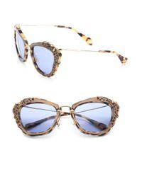 d2d936eeaf53 Lyst - Miu Miu Embellished 55mm Cat Eye Sunglasses in Metallic