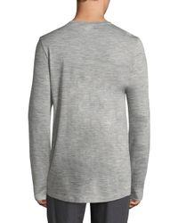 Hanro - Gray Wool & Silk Melange Henley for Men - Lyst