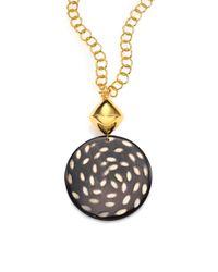 Nest - Black Spotted Horn Disc Long Pendant Necklace - Lyst