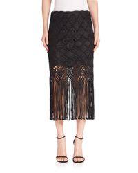 Polo Ralph Lauren - Black Macrame Pencil Skirt - Lyst