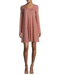 M Missoni - Pink Zigzag A-line Dress - Lyst