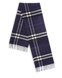 Burberry - Blue Fringed Trim Cashmere Scarf for Men - Lyst
