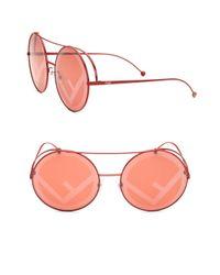 Fendi - Red Runaway 63mm Round Sunglasses - Lyst