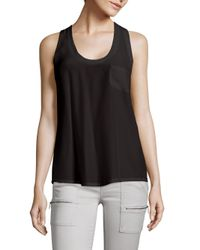 Joie Black Alicia Silk Racerback Tank Top