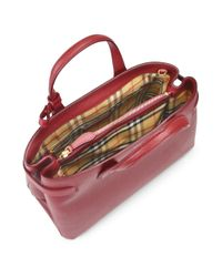 Burberry - Red Medium Banner Leather Satchel - Lyst