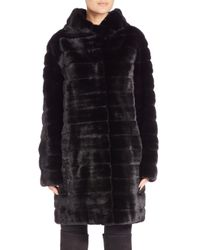 Saks Fifth Avenue - Black Hooded Mink Fur Coat - Lyst