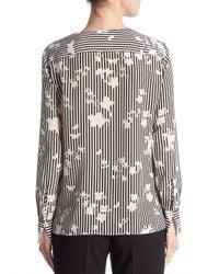 Altuzarra | Black Carnegie Negative Floral-print Silk Blouse | Lyst