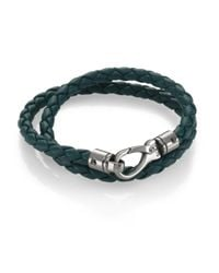 Tod's | Green Leather Double Wrap Bracelet | Lyst