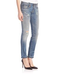 R13 - Blue Kate Low-rise Distressed Skinny Jeans - Lyst