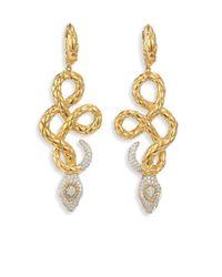John Hardy - Metallic Legends Cobra Diamond & 18k Yellow Gold Drop Earrings - Lyst