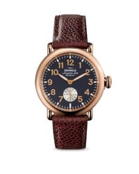 Shinola - Red Runwell Rose Goldtone Stainless Steel & Leather Strap Watch - Lyst