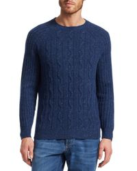 Brunello Cucinelli - Blue Donegal Cable-knit Sweater for Men - Lyst