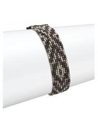 Chan Luu - Metallic Gunmetal, Sterling Silver & Leather Multi-row Beaded Bracelet - Lyst