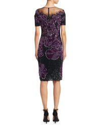 Pamella Roland - Purple Floral Beaded Dress - Lyst