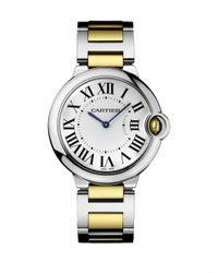 Cartier | Gray Ballon Bleu De 18K Yellow Gold & Stainless Steel Automatic Bracelet Watch | Lyst