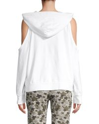 Monrow White Cold-shoulder Hoodie
