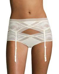 Calvin Klein - White Ck Black Endless Sheer Lace Garter Qf1877 - Lyst