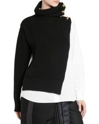 Sacai - Black Wool Shirting Turtleneck Sweater - Lyst