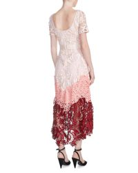 Maje - Red Romarin Multicolor Lace Dress - Lyst