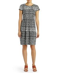 Lafayette 148 New York Black Gina Printed Fit-&-flare Dress