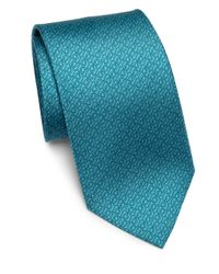 Ferragamo - Blue Gancini Patterned Silk Tie for Men - Lyst