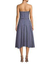 Shoshanna - Blue Ellen Gingham Cotton Dress - Lyst