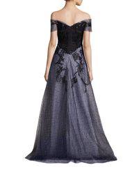 Rene Ruiz - Black Off-the-shoulder Embellished Gown - Lyst
