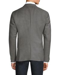 HUGO - Gray Regular-fit Micro-print Wool Blazer for Men - Lyst