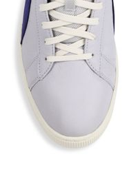 PUMA - Gray Striped Leather Mid-top Sneakers for Men - Lyst