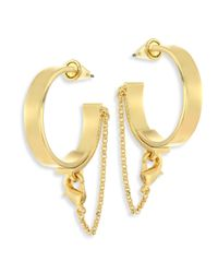 Eddie Borgo - Metallic Thin Safety Chain Hoop Earrings/1.75 - Lyst