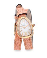BVLGARI - Pink Serpenti Rose Gold & Diamond Double Twist Lizard Strap Watch - Rose Gold - Lyst