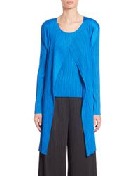 Pleats Please Issey Miyake | Blue Long Open-front Cardigan | Lyst