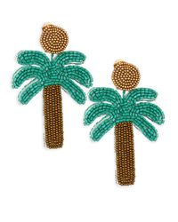 Kenneth Jay Lane - Green Palm Tree Bead Clip-on Earrings - Lyst