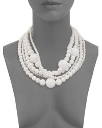 Kenneth Jay Lane - Five Row White Necklace - Lyst